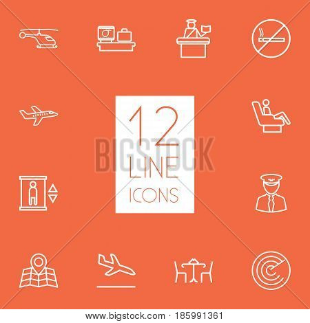 Set Of 12 Aircraft Outline Icons Set.Collection Of Luggage Check, Sit, Cafe And Other Elements.