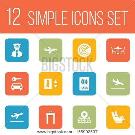 Set Of 12 Land Icons Set.Collection Of Metal Detector, Lift, Leaving And Other Elements.