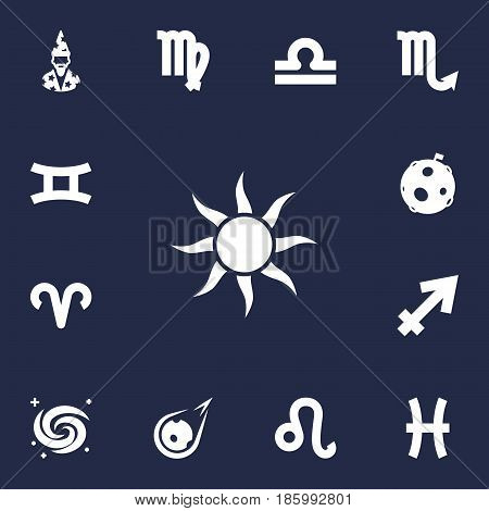Set Of 13 Horoscope Icons Set.Collection Of Comet, Fishes, Lion And Other Elements.