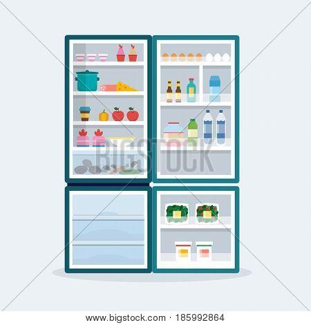 Open fridge. Refrigerator with food. Flat style vector illustration.