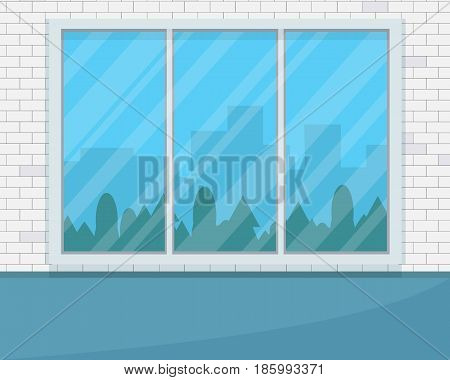 Empty room with big window. Flat style vector illustration.