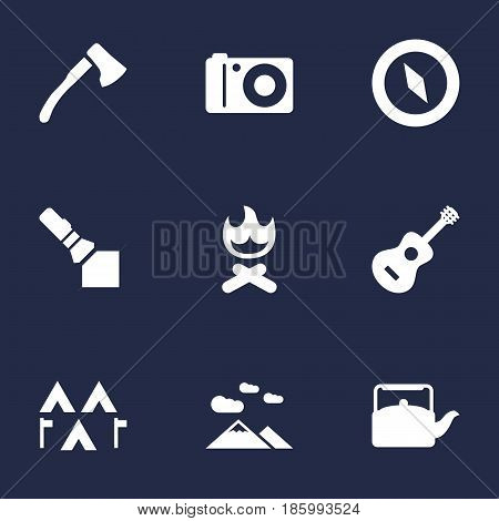 Set Of 9 Outdoor Icons Set.Collection Of Campfire, Kettle, Camp And Other Elements.