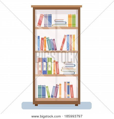 Bookcase on white background. Flat style vector illustration.