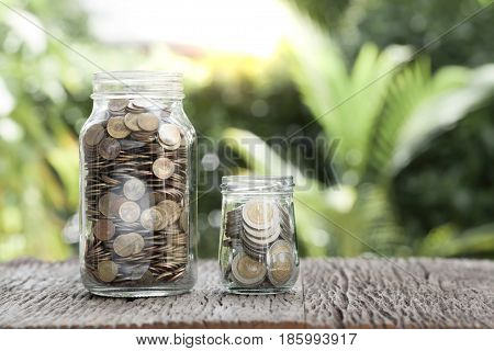 money coin in the glass saving concept
