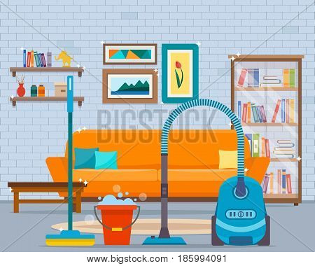 Cleaning with vacuum cleaner, mop and bucket of water. Flat style vector illustration.