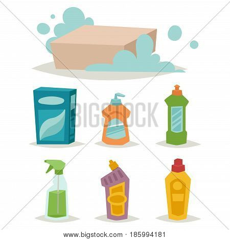 Cleanser bottle chemical housework product and care wash plastic equipment cleaning liquid flat vector illustration. Hygiene domestic container toiletries household tool.