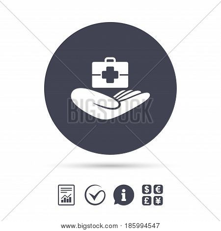 Medical insurance sign icon. Health insurance. Doctor case. Report document, information and check tick icons. Currency exchange. Vector