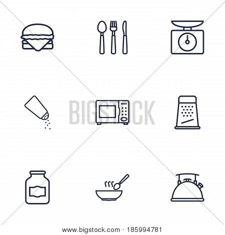 Set Of 9 Kitchen Outline Icons Set.Collection Of Hamburger, Jug, Grater And Other Elements.