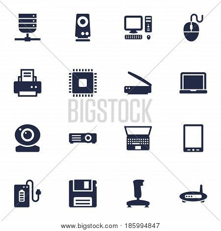 Set Of 16 Notebook Icons Set.Collection Of Photocopy, Amplifier, Diskette And Other Elements.