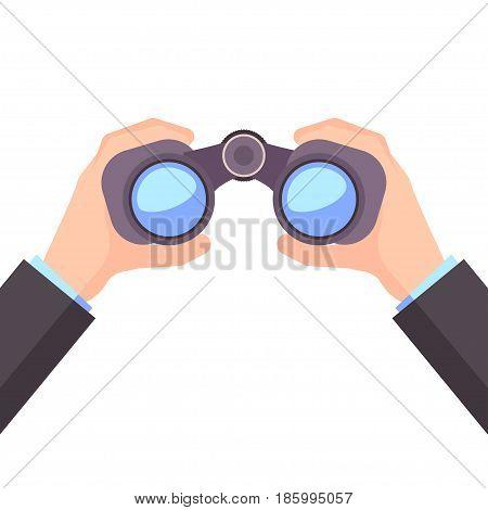 Binocular in Hand, Business vision icon. Recruitment Employee, Visionary Design Vector illustration