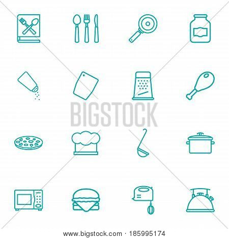 Set Of 16 Cooking Outline Icons Set.Collection Of Salt, Cutlery, Ladle And Other Elements.