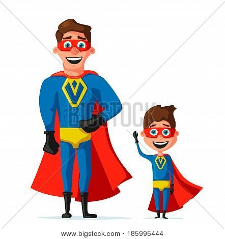 Superheroes in uniform. Cartoon vector illustration. Hero characters. Muscular body. Person in cloak. Justice and help. For banners and posters. Dad and son.
