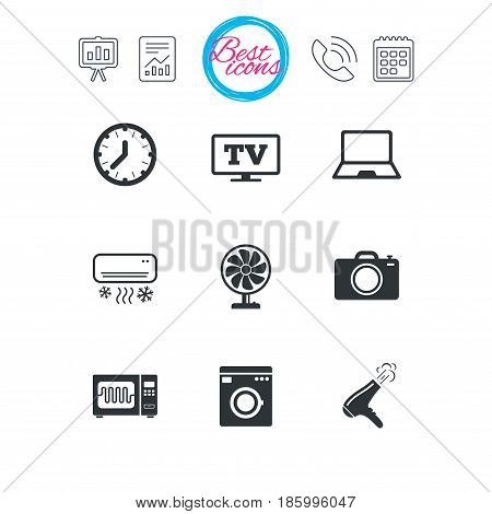 Presentation, report and calendar signs. Home appliances, device icons. Electronics signs. Air conditioning, washing machine and microwave oven symbols. Classic simple flat web icons. Vector