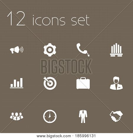 Set Of 12 Business Icons Set.Collection Of Telephone, Building, Speaker And Other Elements.