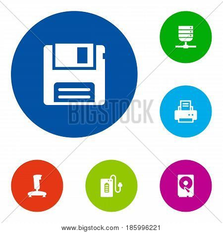 Set Of 6 Notebook Icons Set.Collection Of Diskette, Datacenter, Joystick And Other Elements.