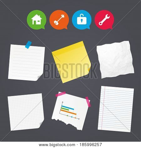 Business paper banners with notes. Home key icon. Wrench service tool symbol. Locker sign. Main page web navigation. Sticky colorful tape. Speech bubbles with icons. Vector
