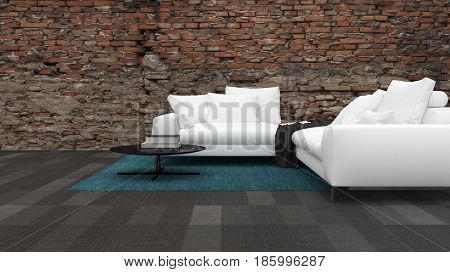 Living room interior with large white sofas on a tiled floor against a feature rough stone effect wall in a panoramic view. 3d Rendering.