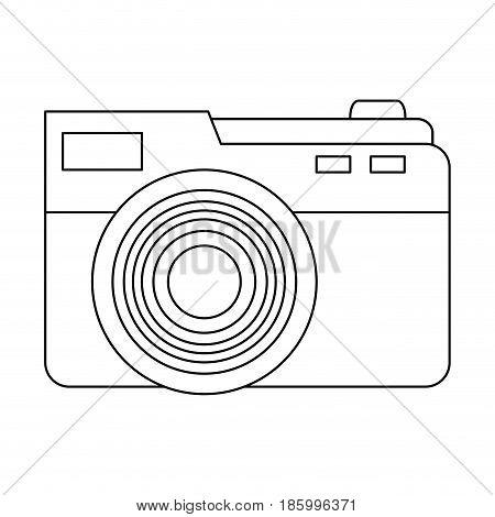 photographic camera icon image vector illustration design single black line