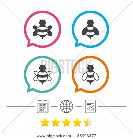 Honey bees icons. Bumblebees symbols. Flying insects with sting signs. Calendar, internet globe and report linear icons. Star vote ranking. Vector