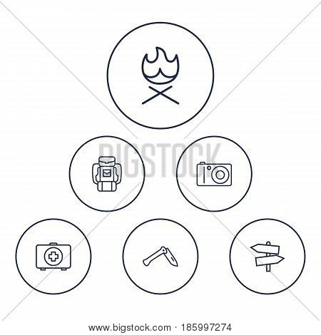Set Of 6 Camping Outline Icons Set.Collection Of Baggage, Photographing, Penknife And Other Elements.