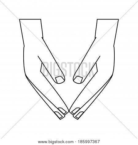 sheltering hands icon image vector illustration design  single black line