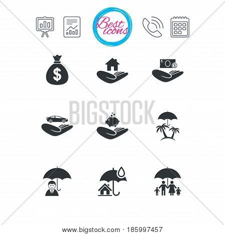 Presentation, report and calendar signs. Insurance icons. Life, Real estate and House signs. Money bag, family and travel symbols. Classic simple flat web icons. Vector