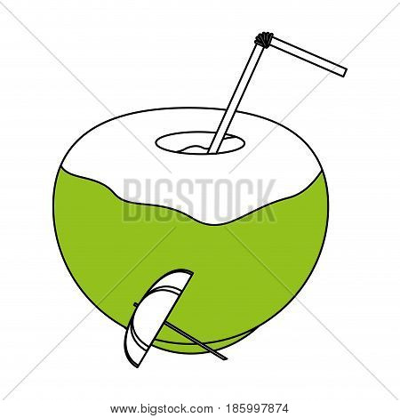 tropical coconut cocktail with umbrella icon image vector illustration design partially colored