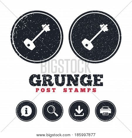 Grunge post stamps. Key sign icon. Unlock tool symbol. Information, download and printer signs. Aged texture web buttons. Vector