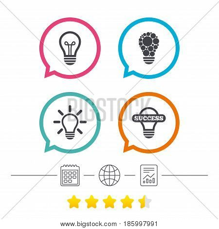 Light lamp icons. Circles lamp bulb symbols. Energy saving. Idea and success sign. Calendar, internet globe and report linear icons. Star vote ranking. Vector