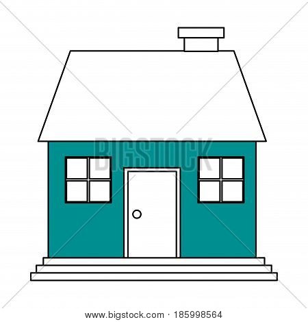 family house with chimney icon image vector illustration design partially colored