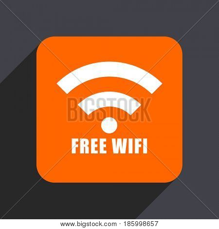 Free wifi orange flat design web icon isolated on gray background