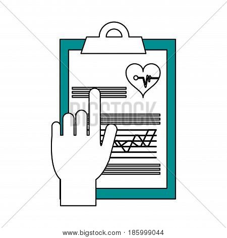 hand pointing medical history on clipboard healthcare icon image vector illustration design partially colored