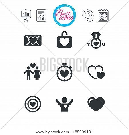 Presentation, report and calendar signs. Love, valentine day icons. Target with heart, oath letter and locker symbols. Couple lovers, boyfriend signs. Classic simple flat web icons. Vector