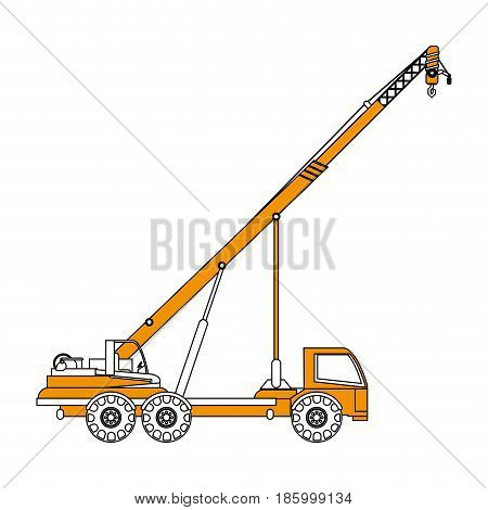 crane truck construction heavy machinery icon image vector illustration design partially colored