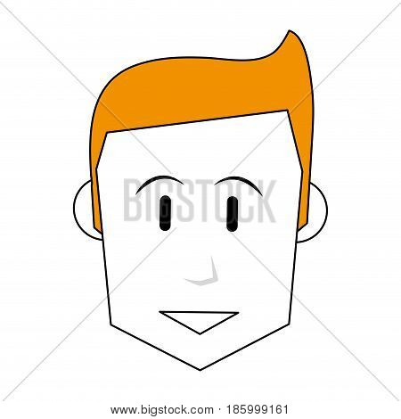 face of happy man icon image vector illustration design partially colored