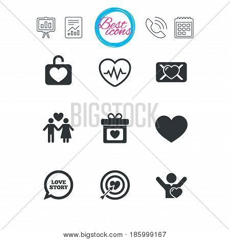 Presentation, report and calendar signs. Love, valentine day icons. Target with heart, oath letter and locker symbols. Couple lovers, heartbeat signs. Classic simple flat web icons. Vector