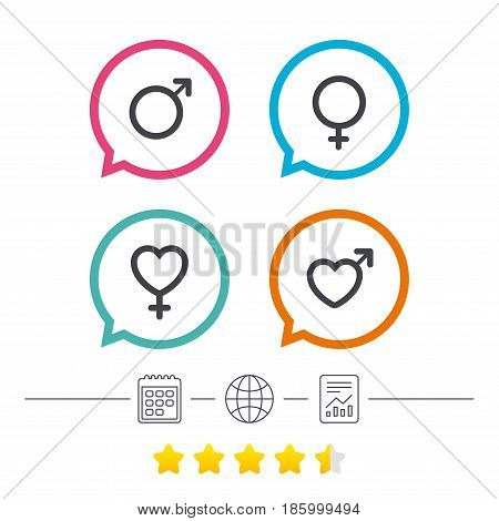 Male and female sex icons. Man and Woman signs with hearts symbols. Calendar, internet globe and report linear icons. Star vote ranking. Vector