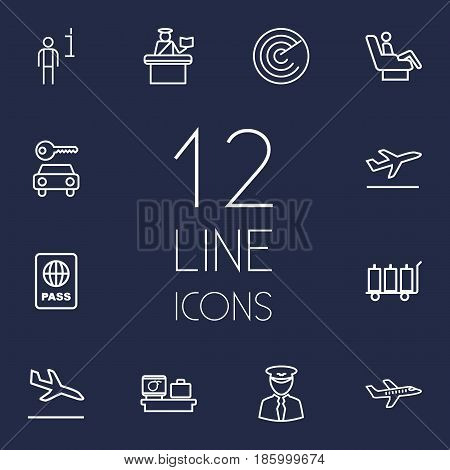 Set Of 12 Land Outline Icons Set.Collection Of Pilot, Flight, Detection And Other Elements.