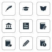 Vector Illustration Set Of Simple Reading Icons. Elements Pen, Tasklist, Recommended Reading And Other Synonyms Pencil, Textbook And School. poster