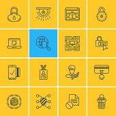 Vector Illustration Of 16 Internet Security Icons. Editable Pack Of Browser Warning, Internet Surfing, Confidentiality Options And Other Elements. poster
