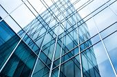 transparent glass wall of office building poster