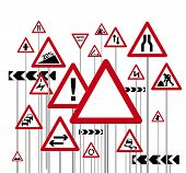 an illustration of a red triangle warning road signs poster