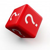Question mark symbol dice rolling 3d illustration poster