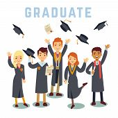 University young graduate students. Graduation and education vector concept. Academic student group, illustration of students man and woman with diploma poster