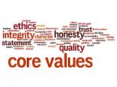 Conceptual core values integrity ethics abstract concept word cloud isolated background. Collage of honesty quality trust, statement, character, important perseverance, respect trustworthy text poster
