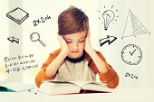 education, childhood, people, homework and school concept - bored student boy reading book or textbook at home over mathematical doodles poster