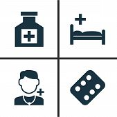 Drug Icons Set. Collection Of Polyclinic, Painkiller, Remedy And Other Elements. Also Includes Symbols Such As Painkiller, Illness, Medicament. poster