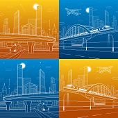 Automobile highway, infrastructure and transportation illustration set, train move on the bridge, night city, towers and skyscrapers, airplane fly, urban scene, vector design art poster