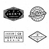 Vintage old labels design set. Prints for t-shirt or apparel. Retro badges for fashion and clothing. Old school graphics for t-shirt, apparel, denim, sewing workshop in style 60s 70s poster