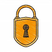 color crayon stripe cartoon padlock with shield body and shackle vector illustration poster